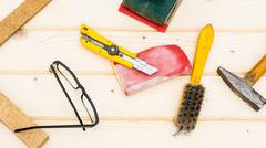 Carpenter tools, diy concept table Stock Photos