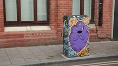 Graffiti-covered telephone wire box in Brighton Stock Footage