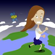 Cute girl running away from bee. Stock Illustration