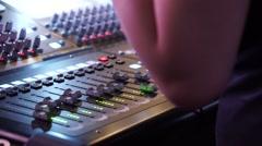 Hands of the Sound Producer Press the Buttons and Move Parts of a Sound Mixer - stock footage