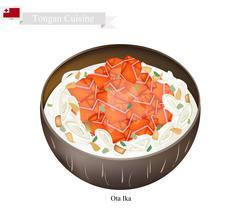 Ota Ika or Tongan Raw Fish in Fresh Coconut Milk - stock illustration