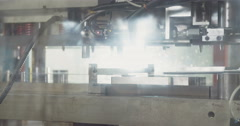 Tracking shot of a 250 ton punch press Stock Footage