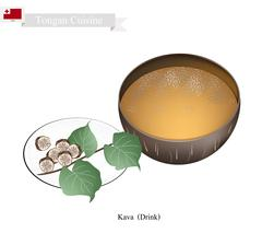 Kava Drink or Traditional Tongan Herbal Beverage Stock Illustration