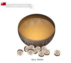 Kava Drink or Traditional Tongan Herbal Beverage - stock illustration