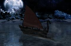 Viking warship at moonlight - stock illustration