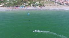 Kite Boarding aerial view.  Stock Footage