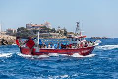 Nautical procession of the Virgen del Carmen (saint of sailors) Stock Photos