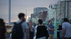 Crowds on Brighton Beach Stock Footage