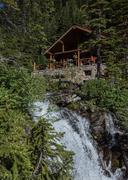 Lake Agnes Tea House and Waterfall Stock Photos