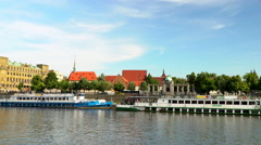 Prague from a Tourist boat at the Vltava River Stock Footage
