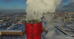 Thermal power plant - smoking chimneys Stock Footage