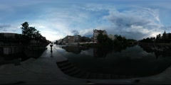 360Vr Video River Flows Old Buildings City Waterfall in the Distance Smooth Stock Footage