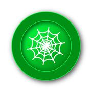 Spider web icon. Internet button on white background.. - stock illustration