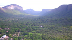Aerial Chapada Diamantina mountains Capão Valley Bahia Stock Footage