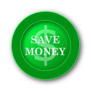 Save money icon. Internet button on white background.. - stock illustration