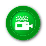 Video camera icon. Internet button on white background.. - stock illustration