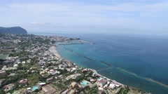 Coastal landscape with beach of Forio, Ischia Island, Italy Stock Footage