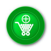 Add to shopping cart icon. Internet button on white background.. - stock illustration
