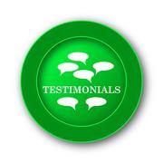 Testimonials icon. Internet button on white background.. - stock illustration