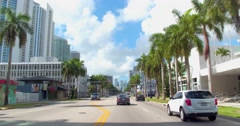 Driving Biscayne Boulevard Miami Florida Stock Footage