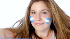 Girl waving Argentinian flag and smiling Stock Footage