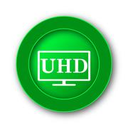 Ultra HD icon. Internet button on white background.. Stock Illustration