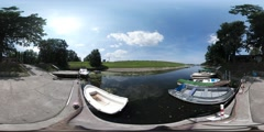 360Vr Video Inflatable Boats Moored on a River Sunny Summer Day Nature Green Stock Footage