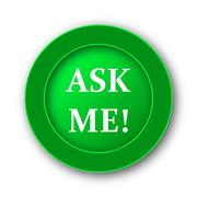 Ask me icon. Internet button on white background.. - stock illustration