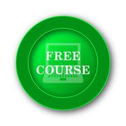 Free course icon. Internet button on white background.. Stock Illustration