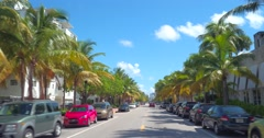 Driving on Collins Avenue Miami Beach Stock Footage