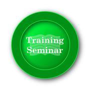 Training seminar icon. Internet button on white background.. - stock illustration