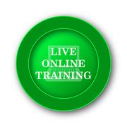 Live online training icon. Internet button on white background.. - stock illustration