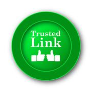 Trusted link icon. Internet button on white background.. Stock Illustration
