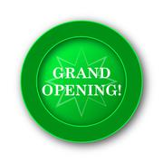 Grand opening icon. Internet button on white background.. - stock illustration
