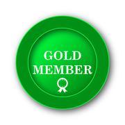 Gold member icon. Internet button on white background.. - stock illustration