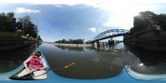 360Vr Video Man in Kayak Floating by River Sunny Summer Day Man Kayaking Along Stock Footage