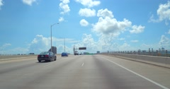 Driving to Miami Beach on the Macarthur Causeway Stock Footage