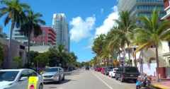 Miami Beach Ocean Drive and 5th Street Stock Footage