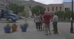 Tourists Cross the Street Stock Footage