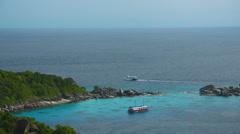 Ship divers at anchor in lagoon Ko Miang island Thailand. Stock Footage
