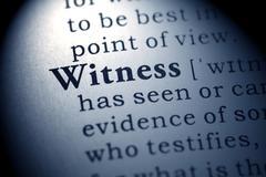 Dictionary word witness Stock Photos