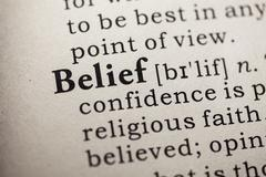 Dictionary word belief Stock Photos