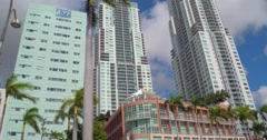 Vizcayne Condominium Highrise architecture Downtown Miami Stock Footage