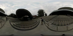 360Vr Video Tourist in Empty Amphitheatre Opole Spherical Panorama Empty Seats Stock Footage