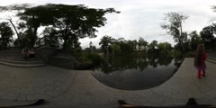 360Vr Video Man Woman Couple Near Water Kid Cloudy Day Lake in Park Embankment Stock Footage