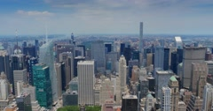 High Level View of Uptown Manhattan and Central Park Stock Footage