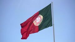 Portuguese Flag Waving Stock Footage