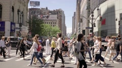 tourists exploring new york city. shopping business district - stock footage