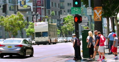 Sightseeing tourist Starline bus crosses Hollywood Boulevard in Los Angeles 4K Stock Footage
