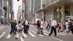 New York City streets scene. Crowd of business people commuting background Stock Footage